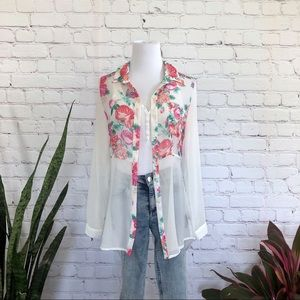 NWT Forever 21 Sheer Floral Button Down